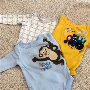 3 long sleeve baby boy onesies.